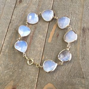 Handmade Jewelry - White Iridescent Crystal and Gold Bracelet